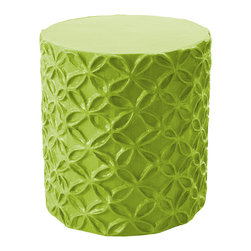 "Stray Dog Designs - Stray Dog Designs Flower Douglas Fir Stool/Accent Table - In vibrant Douglas Fir, this versatile piece lends texture and dimension to a room with its handcrafted papier-mache pattern of interlocking flowers in relief. Its cylindrical frame is reinforced with iron, making it a sturdy side table or comfortable seat. 16"" Dia. x 19""H; Papier-mache and rebar; Handcrafted by artisans from recycled materials; Finished with low VOC paint"