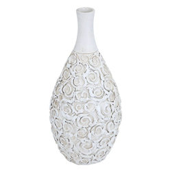 Benzara - Ceramic Bottle Vase in Elegant Design - Lend charm to your interiors with this elegant ceramic vase in a bold white finish. With a petal design all over it, it boasts of an artistic plain neck. Place it on your corner table in the living room, or bedroom for a refreshed ambience. Put in beautiful flowers and place it against the backdrop of a bright wall, this exotic vase is sure to add style to the surroundings. It suits perfectly with any modern or conventional style homes and is noticeable even from a distance. Embraced with flower designs all over, this vase is an exquisite addition to your interiors. You can consider gifting this elegant vase to your beloved. Expertly crafted of the finest ceramic, this vase is sturdy, durable and has a long life.