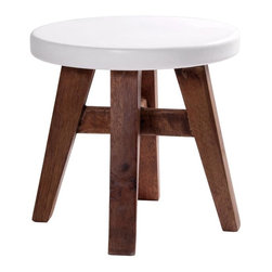 "Home Essentials - Antique White and Honey Wood Stool - Your kids will love getting on and off their own chair all by themselves! Our lovely natural wooden children's stool is perfectly hand carved of fine wood, and nicely painted with a white seat. Round in design, this kids stool will match any decor.   * Dimensions:10"" x 10"""