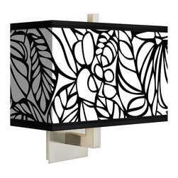 """Giclee Gallery - Jungle Moon Giclee 14"""" Wide Rectangular Shade Wall Sconce - Add contemporary good looks to a hallway, bedroom or seating area with this compact, rectangular shade sconce. This giclee shade wall sconce has a clean, crisp look and contemporary appeal. It features a giclee printed pattern on high-quality canvas. The giclee printing technique allows for the faithful reproduction of color and detail. A square backplate, finial, and angular arm with a brushed steel finish add sleek style. Requires hard-wired installation. This item is custom made-to-order. U.S. Patent # 7,347,593."""