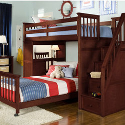 "NE Kids - School House L-Shaped Bunk Bed with Desk and Stairs - The School House Stair Loft has it all: a twin over full or twin lower bed, a fully integrated desk, and four built in drawers in the staircase steps with a bottom drawer ithat can store almost anything. Features: -School House collection. -Hardwood and veneer construction. -Locking casters allowing for ease of making the bed and cleaning the space. -Desk end includes a large work space and three drawers, designed to accommodate all things kid. -Interchangeable desk and stair ends. Desk rotates to allow for studying under upper bed. -Four drawers on side mounted Euro guides are integrated into the staircase steps. The bottom drawer is a rolling toy box, offering incredible storage. -Five piece drawer construction with English dovetailing. -Bed can accommodate two sets of optional drawers or captain storage units at the same time. -Mattress ready with complete slat system (no foundation required). -Upper bed can accommodate an 8"" mattress. Specifications: -Twin loft bed dimensions: 25"" H x 80"" W x 42.25"" D. -Full loft bed dimensions: 25"" H x 80"" W x 58.3"" D."