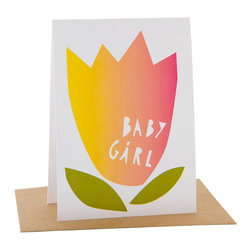 Yellow Owl Workshop - Papercut Baby Girl Card - Printed in San Francisco with veggie-based inks on 100% PCW paper.