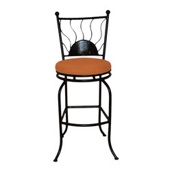 "Surf Side Patio - Bali Swivel Bar stool, Tuscan, 30"" Bar Height - Accent your breakfast bar, home bar, tiki bar or patio with the hand crafted, wrought iron Bali Swivel Bar stool.  Made from thick guage, powder coated wrought iron, these gorgeous bar stools swivel 360 degrees and bring a tropical touch to any area of your home, indoor or outdoor."