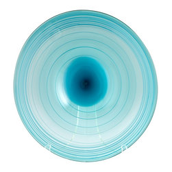 Cyan Design - Cyan Design Aqua Record Transitional Charger Plate - Small X-71160 - A simple rounded shape is paired with slender swirled lines, which accentuate the wide shape of this Cyan Design charger plate. From the Record Collection, this small charger plate pairs its simple shape with a fluid blend of blue and clear glass, giving it a casual air of elegance and appeal.