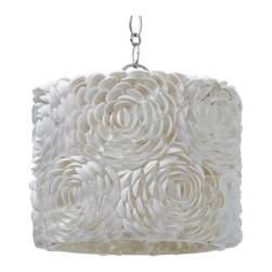 Kathy Kuo Home - Hallandale Coastal Beach Seashell Petal Glass Drum Pendant - If you love seashells by the seashore, you will flip for this handcrafted, seashell glass pendant. Delicate shells are transformed into a bouquet of flower petals around the shade. This pendant will float in your room. And when you turn it on, the magic begins.