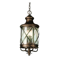 "Trans Globe Lighting - Trans Globe Lighting 5126 AC New England Coast 25 3/4"" Outdoor Pendant - Coastal New England horse and carriage hanging lantern. Cross bar frame with rounded seeded glass. Wrought iron accents and matching chain."