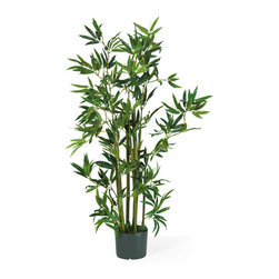 Nearly Natural - Nearly Natural 4' Bamboo Silk Plant - Throughout recorded history, bamboo has inspired artisans, philosophers, healers, and even warriors. Now it inspires you! In response to its popularity, our bamboo family has grown to include this 4' bamboo silk plant that contains nine stalks and 540 leaves. It comes pre-arranged in a black plastic pot. Display this silk tree by itself, or combine it with our other silk bamboo plants and trees to create an indoor bamboo garden.