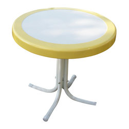 4D Concepts - Metal Retro Round Table in Yellow and White - Beautifully crafted retro table. Perfect for any room of the house. Can be moved wherever you need an additional table. Rich powder coated white and red trim give it a distinct look. Tapered legs flair out at the bottom to give the table a unique and durable look. Clean with a dry non abrasive cloth. Metal table top is trimmed in a vibrant shade of vintage Yellow. Constructed of metal. Assembly required. 22 in. W x 22 in. D x 19.5 in. H (11 lbs.)