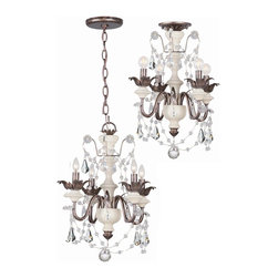 Crystorama - Crystorama 9254-EB 4 Light Dual Mount Pendant Or Semi Flush Ceiling Fixture With - More than just color, we are concerned with how all the elements in a chandelier work together. Anyone can use a beautiful piece of crystal. But what sets the best designers apart is the way they drape that crystal strand, the way they attach a crystal je