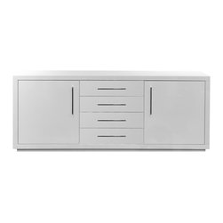 "White Line Imports - Montgomery High Gloss White Buffet - Offering a plentiful storage provided by self close drawers and 3/8"" tempered glass shelves, the Montgomery High Gloss White Buffet is one of the most important elements of any dining room."