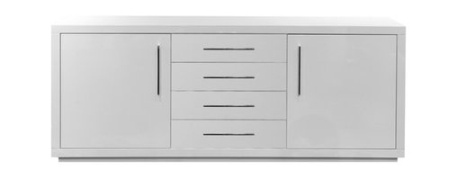 """White Line Imports - Montgomery High Gloss White Buffet - Offering a plentiful storage provided by self close drawers and 3/8"""" tempered glass shelves, the Montgomery High Gloss White Buffet is one of the most important elements of any dining room."""