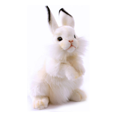 Hansa Toys - Hansa Toys Baby Rabbit - This Hansa Baby Rabbit will melt your heart when he hops into your life. Hansa Baby Rabbit is made from white plush with black tipped ears, whiskers, and pink nose and mouth. Hansa Baby Rabbit is standing to look up at you.