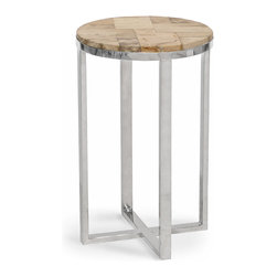 Kathy Kuo Home - Cosmopolitan Industrial Loft Petrified Wood Round Side Table - A square base and perfectly round petrified wood tabletop create a geometric study in natural beauty. The organic, fossilized mosaic has unique dark colors and patterns, complementing the sleek silver legs. This elegant table is the ideal place for a toast to your good taste.