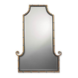 Uttermost - Himalaya Spotted Gold with Gray Unique Mirror - This flat top, arch mirror is framed by an antiqued gold iron rod with matte black inner lip.  Black iron bands accent the frame.  Mirror is beveled.
