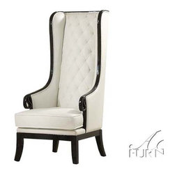 ACME Furniture - Parr Black/White High-Back Accent Wing Arm Chair - 59128 - Parr Collection Accent Chair