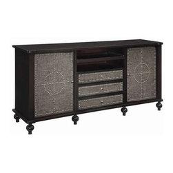 "Harrison TV Cabinet - Harrison TV Cabinet MDF Wood Espresso/Linen Finish 80 x 21 x 38"" Ht."