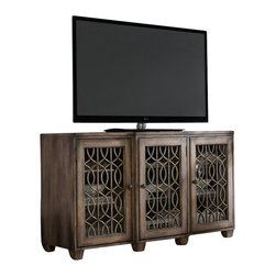 "Hooker Furniture - 64"" Entertainment Console - White glove, in-home delivery included!  The 64"" Entertainment Console features three wood-framed doors with decorative overlay and seeded glass or wood panel option and two adjustable shelves behind each door.  One three plug outlet."