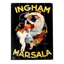 Home Decorators Collection - Ingham Marsala Wine Wooden Sign - The Ingham Marsala Wine Wooden Sign is a vibrant, colorful recreation of a vintage wine advertisement. Expertly crafted from planks of high-quality wood, this unframed art piece will add bold, beautiful color to your space while imparting a subtle hint of rustic charm. Place one in your kitchen, living room or entryway for a classic look that complements traditional and modern decor styles alike. Order yours today! Includes hardware for easy hanging in any room. Crafted from solid wood for years of lasting beauty. Indoor use only.