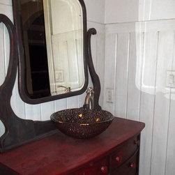 Custom Furniture/Antique refinishing - custom finish on antique mirror & converted furniture into bathroom cabinets hall bath