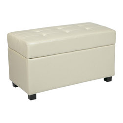 Office Star - Office Star Metro Storage Bench Ottoman in Cream Faux Leather - Office Star - Ottomans - MET804CM - OSP Designs presents the Metro Ottoman a gorgeous contemporary living room accent that also boasts a nice measure of practicality. An attractive seam-detailed faux leather top opens to reveal a large interior storage chest. Matching hardwood block feet complete the appeal of the Metro Storage Ottoman / Chest allowing you to keep organized while keeping classy.