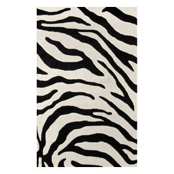 nuLOOM - Animal Prints Contemporary 4' x 6' Black Hand Tufted Area Rug Zebra Print - Made from the finest materials in the world and with the uttermost care, our rugs are a great addition to your home.