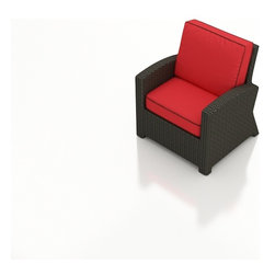 Barbados Wicker Club Chair - Cozy, deep seating and absolutely comfortable, the Barbados Wicker Club Chair by Forever Patio (FP-BAR-CC-EB) offers an additional seat for your living set, while dazzling your home for years to come with its weather resistant Ebony flat weave wicker and ultra-plush Sunbrella® fabric cushions. Don't miss out on this season's newest looks for your home that will create a timeless setting for your entertaining needs.