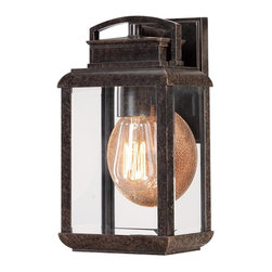 Quoizel - Quoizel Byron Outdoor Wall Fixture X-BI6048NRB - This fixture gives the exterior of your home both beauty and an exclusive sense of style. It features a vintage bulb for a historic look and is enhanced by the copper hued plate directly behind it. The clear beveled glass and the imperial bronze finish complete the look.