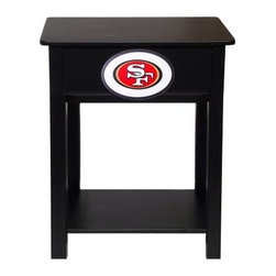 Fan Creations NFL Nightstand - Those who want their favorite team to be the first thing they see in the morning and the last thing they see at night will love the Fan Creations NFL Nightstand. This awesome side table is great for next to the bed or in a rec room of some sort. It's made from sturdy birch wood and MDF so you know it's tough and the black finish matches any decor. But best of all, your choice of NFL team logo is right there on the front in vibrant color for all to see! Measures 19.75L x 14.75W x 24H inches.About Fan Creations Fan Creations are in this business because they love their teams, too. With a wide range of licensed furniture, products, wall decorations and more for fans of NFL, college, and other teams, they're your source for gameday goodness.