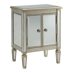 Coaster - Accent Cabinet, Antique Silver - This stunning two door accent cabinet features a modern look and an antique silver finish. Decorative door knobs and reflective mirror panels on the sides and legs make this piece a stylish addition to any home.