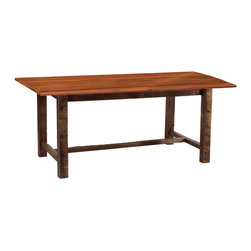 "Fireside Lodge - Rustic Farm Table Antique Oak Finish 96""L x 42""W x 30""H - This is a rustic farm table, made from beautiful 19th century reclaimed barnwood with an antique oak stain. The natural barn wood's colors and textures are greatly enhanced by a catalyzed lacquer finish. This table features a four-post leg design and as well as a sturdy crossbar for support. It is available in several sizes. The lacquer finish adds a strong protective coating while bringing out the wood's natural colors."