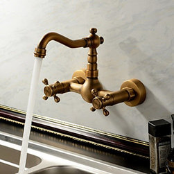 Kitchen Sink Faucets - Antique Inspired Kitchen Faucet - Wall Mount (Antique Brass Finish)--FaucetSuperDeal.com