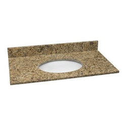 Design House 61W x 22D in. Granite Single Sink Vanity Top - The undermount Design House 61W x 22D in. Granite Single Sink Vanity Top is generously sized that it incorporates three 25-inch steel bars just to support all that beautiful granite! Available in a wide range of color options, this easily installed piece will enhance your bathroom surroundings in ways that will make every guest take notice. Choose from black pearl, golden sand, tropical brown, uba tuba, and Venetian gold to create the luxurious bathroom you've always dreamed of having! Whether you're remodeling or starting from scratch, this easy-to-install vanity top is a must-have for the homeowner who wants gorgeous interior design and superior functionality. The spacious design provides ample counter space for appliances, toiletries, towels, and more. It also includes three pre-drilled holes that make installing a faucet easy, squared edges that evoke a more modern look while catching excess water, and there's even a matching granite back splash! A back splash gives your bathroom a more finished look and serves as a terrific barrier between your wall and the vanity to prevent any mold and water damage. Lastly, an oval bowl at the heart of this top is crafted from vitreous glass that's well known for having a uniquely grainy surface and offering durability that can be depended upon to never chip or wear. The Single Sink Vanity Top is backed by a 1-year limited warranty that protects against defects in materials and workmanship.About Design HouseWith Design House, you can design with your whole house in mind. Design House's range of home decor products boasts several categorizations that easily coordinate every room in your home. WholeHouse encompasses complete home packages that coordinate finish and style across major product categories, and TruMatch ensures matching finishes across all product categories. Design House's products meet rigorous industry standards, too, so you can feel as safe as you do s