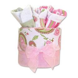 "Trend Lab - Gift Cake - Paisley Blanket - Trend Lab's Paisley Park Gift Cake is the perfect shower centerpiece and a practical gift for any mom to be. Gift set contains one blanket and three bibs. Blanket features a pink and green paisley print set against a crisp white cotton background with soft pink velour on the reverse. Bibs each have fun, modern printed cotton on the front with terry on the back. Bib patterns include: pink and green paisley print on a white background, pink, green and white stripe print and pink Swiss dots on a sage background. Blanket measures 30"" x 40"" and bibs 9"" x 13"". Blanket is wrapped around all three bibs to resemble a cake with topper and packaged in clear cellophane with ribbon and gift tag."