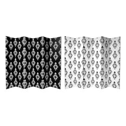 Oriental Furniture - 6 ft. Tall Double Sided Black and White Damask Canvas Room Divider 6 Panel - A lovely and elegant wall paper pattern screen, with uniquely attractive, large fleur de lis medallions, black on white on one side and white on black on the other, printed onto a portable, durable, six panel canvas room dividers. A great accent for modern eclectic interior design and decor, simple, subtle decorative art with a European flair, retro and contemporary, as well as practical, effective, folding room divider.