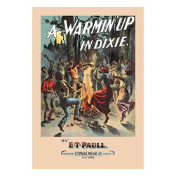 """Buyenlarge.com, Inc. - A Warmin' Up in Dixie- Paper Poster 12"""" x 18"""" - Edward Taylor Paull (1858 - 1924) was a prolific publisher of sheet music marches. His songs gained acclaim more from the cover art of the sheet music than often from the lyrics and tune."""