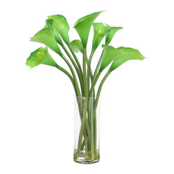 """Vickerman - Green Calla Lilies in Glass Cylinder - 24"""" Natural Touch Green Calla Lilies in Glass Vase"""
