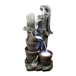 Yosemite Home Decor - Yosemite Home Decor Two Bucket Water Well Indoor / Outdoor Fountain X-91069WC - This water well features a simple faucet design and secondary spout for overflow, creating a charming effect for this Yosemite Home Decor indoor/outdoor fountain. This Two Bucket Water Well fountain features intricate and realistic details with perfect tones of metal and wood coloring blended together to complete the look.