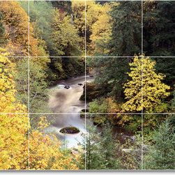 Picture-Tiles, LLC - River Picture Kitchen Tile Mural R003 - * MURAL SIZE: 18x24 inch tile mural using (12) 6x6 ceramic tiles-satin finish.