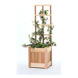 All Things Cedar - 2pc. Planter with Trellis - This set includes 1 PL10U planter box with trellis Item is made to order.