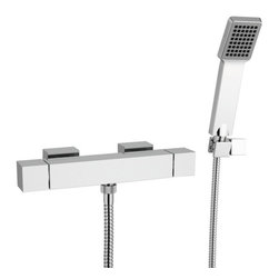 Remer - Thermostatic Wall Mounted Shower Mixer with Hand Shower and Bracket - Wall mounted thermostatic shower mixer.