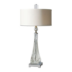 Uttermost - Grancona Twisted Glass Table Lamp - Thick, twisted glass base with polished nickel details and crystal accents.