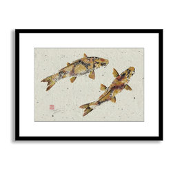 Gallery Direct - Dwight Hwang's 'Golden Koi' Framed Paper Art, 40x29 - A nod to the traditional Japanese art of gyotaku, meant as a way to record a proud catch for fishermen, this print captures delicate detail of the actual fish. This striking print comes framed and matted with a three inch white mat. The perfect way to add character, depth and value to your room, it is printed using the highest quality materials. Arrives ready to hang.