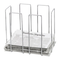 Blomus - Wires Newspaper Collector in Chrome Finish - Made of steel wire, Chrome plated. Designed by Stotz-Design. 1-Year manufacturer's defect warranty. 18.3 in. L x 13 in. W x 15.7 in. H