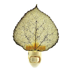 Real Aspen Leaf Nightlight in 24k Gold - Real Aspen Leaf preserved in precious metals. Attached to UL-listed 4 watt nightlight bulb. Hand Made in USA.