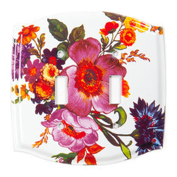 Flower Market Switch Plate - Double Toggle - White | MacKenzie-Childs - Add classic MacKenzie-Childs patterns to every light switch in your home! Our heavyweight switch plate covers are hand decorated and come with antique-brass-plated hardware for installation.