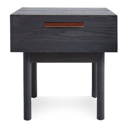 "Blu Dot - Blu Dot Shale Bedside Table, Smoke - ""Layers of clean details. Solid wood and full grain leather pulls add storage panache and practicality to the bedroom, living room or dining room. """
