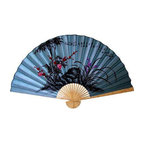 Oriental-Decor - Soft Blue Poem Asian Wall Fan - Poetry for your wall. Beautiful bamboo and flowering shrubs are gracefully depicted on this blue, painted bamboo decorative fan, which also includes a brief ode to nature in Chinese characters. It's an elegant addition to your bedroom, living room or workspace.