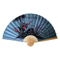 Oriental-Décor - Soft Blue Poem Decorative Fan - Poetry for your wall. Beautiful bamboo and flowering shrubs are gracefully depicted on this blue, painted bamboo decorative fan, which also includes a brief ode to nature in Chinese characters. It's an elegant addition to your bedroom, living room or workspace.
