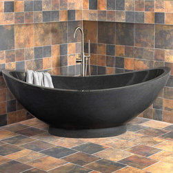 "75"" Vespasian Stone Double-Slipper Tub - The sleek lines and smooth surfaces of this stone tub are the perfect design to showcase the beautiful natural materials from which it is carved. Its grand size makes this a perfect tub for couples and will create an impressive centerpiece for any bath suite."