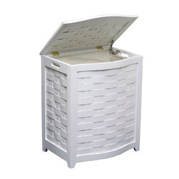 "Oceanstar White Finished Bowed Front Veneer Laundry Wood Hamper with Interior Ba - Contemporary design for your bed or bath by adding this laundry hamper to your home decor. This laundry hamper is a solid wood construction hamper; it adds durability and elegance to any room and helps to keep your room neat and contemporary. This laundry hamper comes with a canvas bag and double hinges with hardware and other accessories to assemble. There are also rubber bumpers on the lid which help to prevent damage to the hamper. Two hand grips on the side makes it easy for you to carry your clothes to your laundry room or you can also take out the canvas bag to your laundry room. This beautiful hamper is functional while adds class and style to your room. Assembly required. Hamper Size: 24.25""H x 15""D x 20.25""W. Assemble weight: 13 lbs."